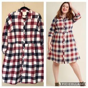 ModCloth Jam Girl Shirt Dress Mixed Berry 1X